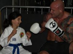Practising punches with a pro boxer