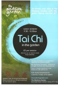 Poster advertising Tai Chi at the Medicine Garden in Cobham, Surrey
