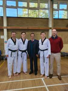 George, Guy, James and Master Hobbs with Grandmaster Yoon